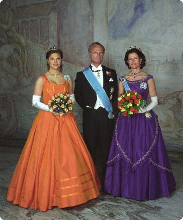 Crown Princess Victoria of Sweden with her parents The King and Queen.
