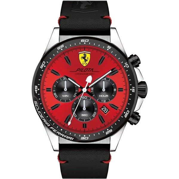 Ferrari Men's Chronograph Pilota Black Leather Strap Watch 45mm... (£215) ❤ liked on Polyvore featuring men's fashion, men's jewelry, men's watches, black, mens chronograph watches, mens chronograph watch and mens watches jewelry
