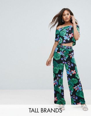 New Look Tall Tropical Bardot Top & Wide Leg Trouser Co-Ord