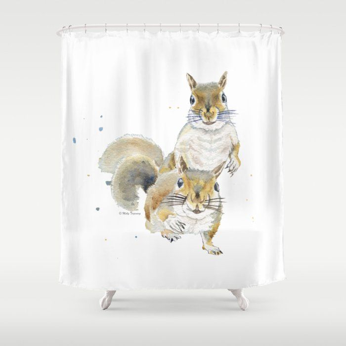 Two Squirrels By Melly Terpening Squirrelwatercolorpainting Animalpainting Cutepainting Showercurtain
