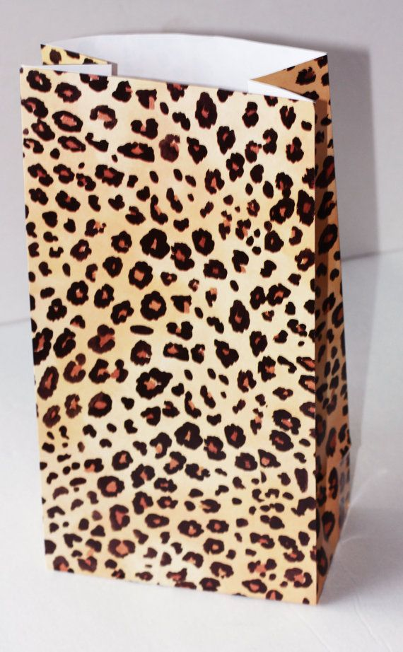 """10 Leopard Gift Sack 6"""" x 11"""" Cheetah Party Supplies treat bags Gift Wrapping Bag Party Favors Girls Birthday Baby Bridal Shower Diva"""
