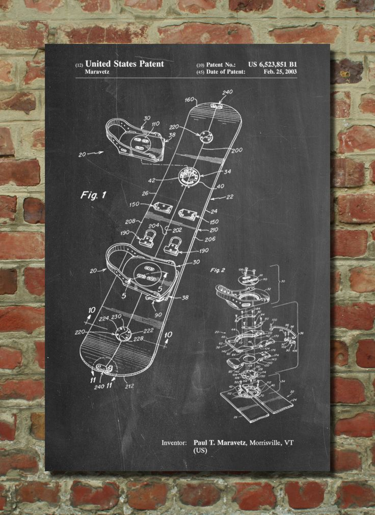 Snowboard Patent Poster, Snowboard Art, Ski Lodge Decor, Winter Print, Sports…