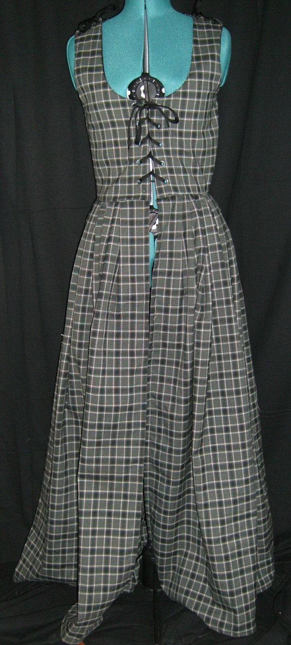 Grey and white tartan Wool Irish Medieval Dress  Size by Mordork