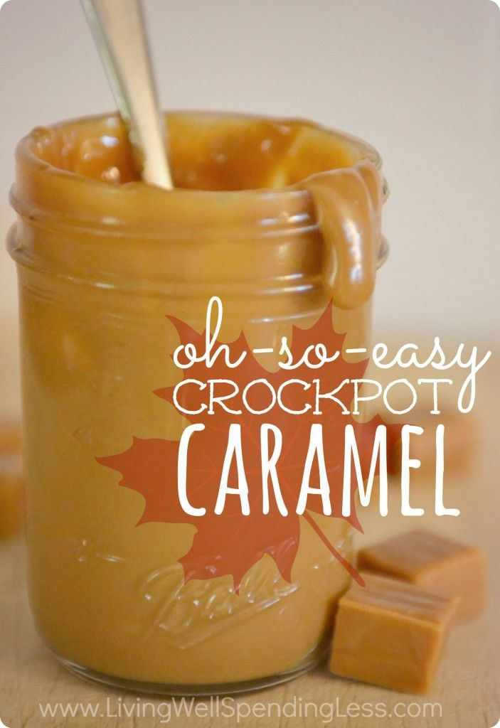 Oh-So-Easy Crockpot Caramel..actually Dulce de Leche,.you seriously won't believe how simple it is!   All you need is some sweetened condensed milk and a slow cooker to make the most delicious caramel sauce EVER.  Perfect on ice cream, as an apple dip, or in recipes.