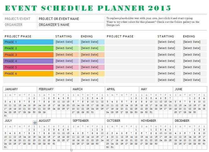 Sample event schedule planner template is designed for for One day event schedule template