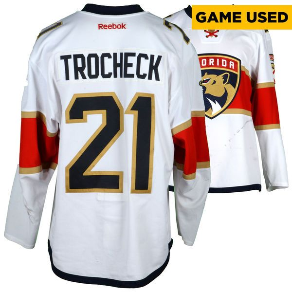 Vincent Trocheck Florida Panthers Fanatics Authentic Game-Used #21 White Set 1 Jersey From The 2016-17 NHL Season - Size 54 - $1749.99