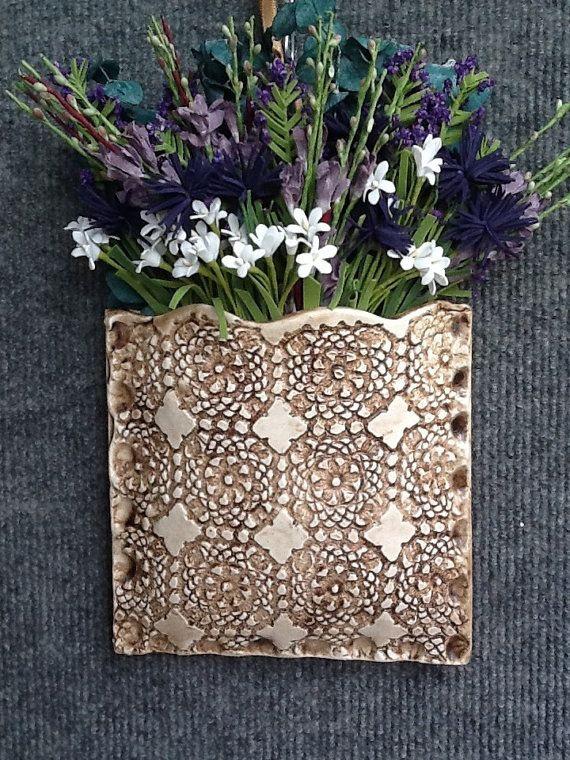 Clay wall pocket with inlaid lace. by PrettyPotterybyTC on Etsy