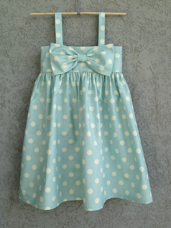 Light Blue Polka Dot baby/toddler Dress, Easter Dress