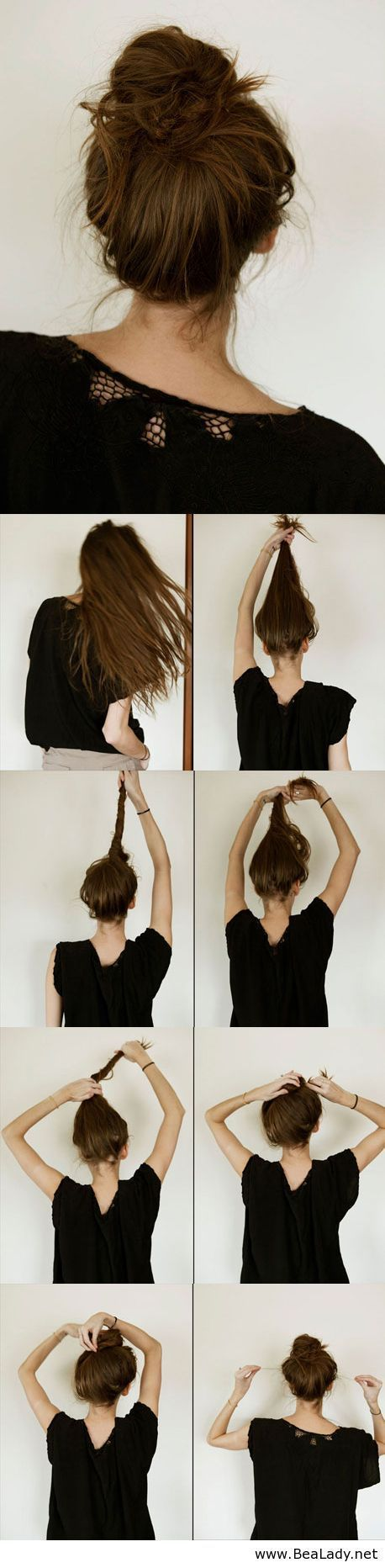 DIY messy bun not completely sure what that last step is doing but yeah