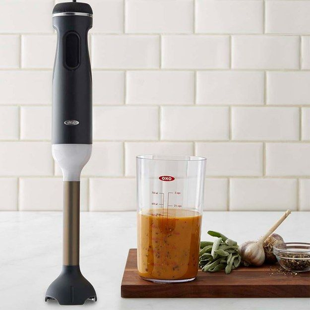 An immersion blender is perfect for making dips, soups, or smoothies.