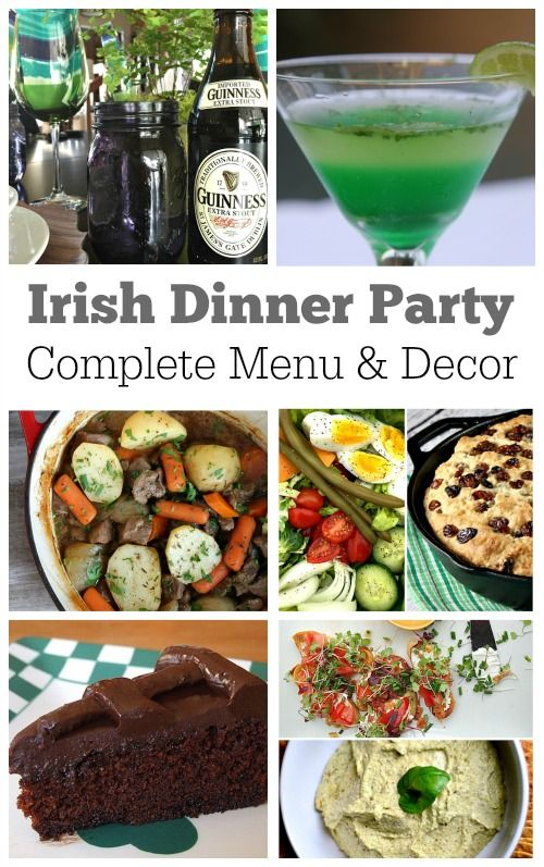 Irish Dinner Party Menu and decor ideas.  Recipe links included.  For St. Patrick's Day or an Irish- Themed Dinner Party.