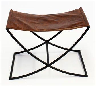BEN14409 Albert bench sled metal w choc leather top 60x40x40