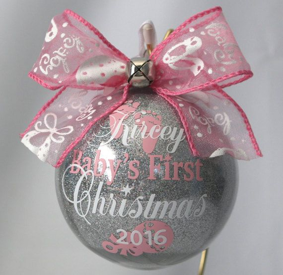 Babys first christmas ornament personalized by ShopElainesCrafts