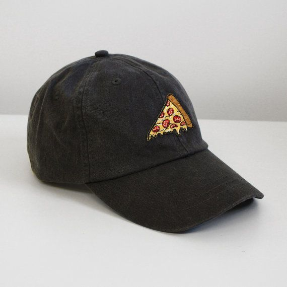 Pizza Embroidered Baseball Hat - Your Choice of Cap Color with Patch - White Pastel Pink Charcoal Cactus Green Aqua