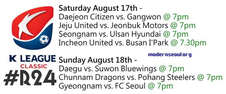 K League Classic Round 24 (August 24th - 25th) Preview, Prediction & Results