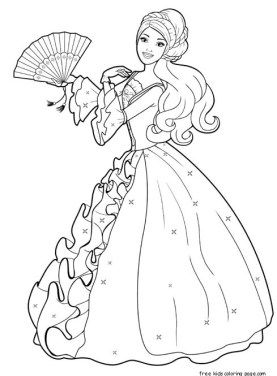 Printable Barbie Princess Dress Colouring Book Pages Up GamesBarbie