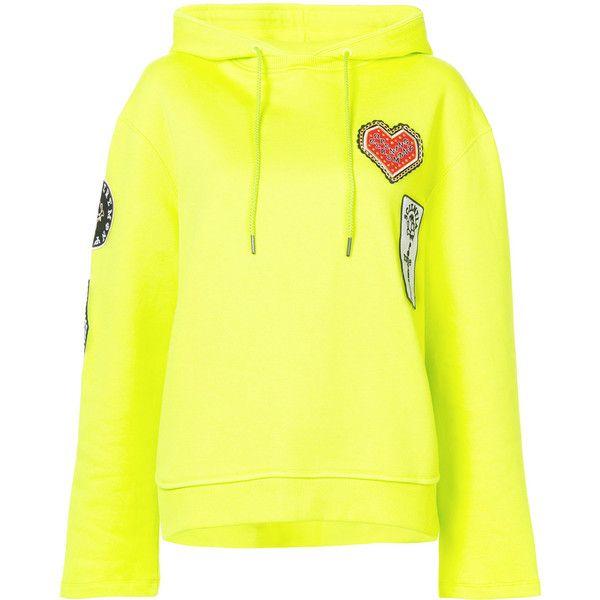 Opening Ceremony Sorority hoodie (485 CAD) ❤ liked on Polyvore featuring tops, hoodies, hoodie top, hooded sweatshirt, yellow hooded sweatshirt, neon yellow top and neon hoodie