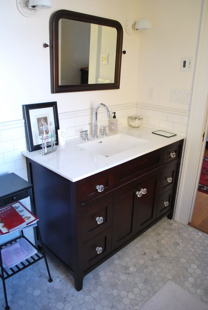 Francoise47 Bathroom From Ths What You See Is Honed Carrara Marble Hex Floor With Tec