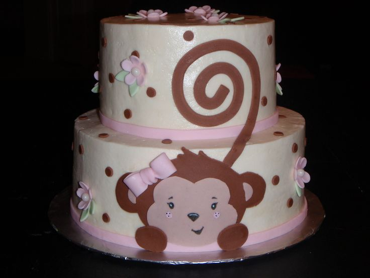 Monkey Girl Baby Shower Cake - Pink and Brown Party Ideas