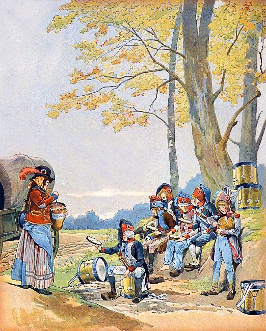 a Cantinière and several drummer boys- illustration by JOB
