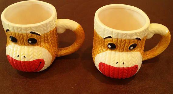 Adorable set of 2 monkey mugs / monkey cups / monkey coffee