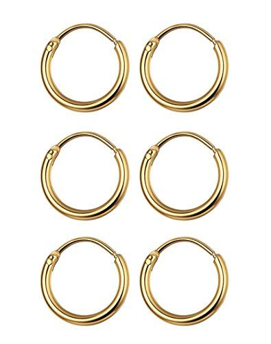 Woxia 3 Pairs Stainless Steel Small Cartilage Hoop Earrings For Men
