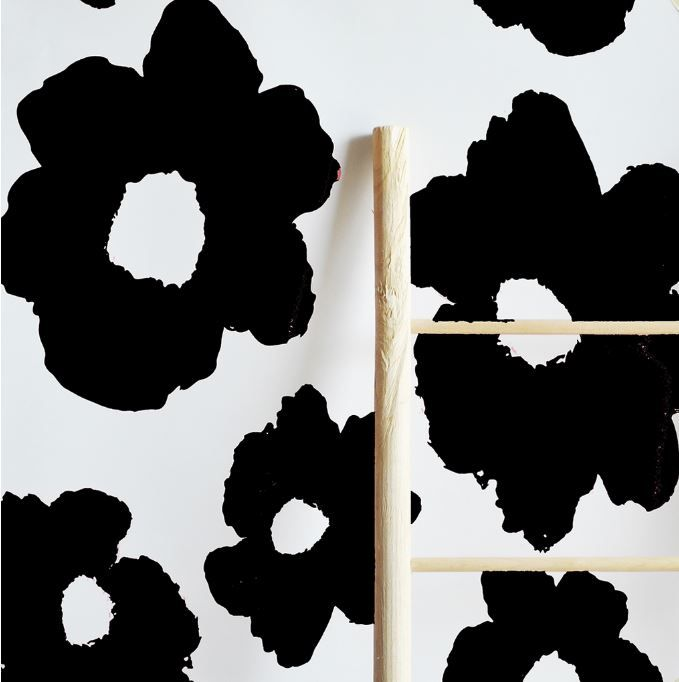 Black and white floral wallpaper tiles - So much easier to install this way!