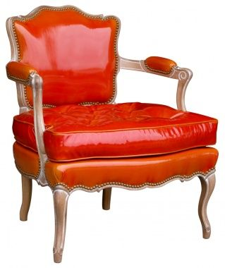 Crazy about the orange patent leather. I want two of these facing my desk.