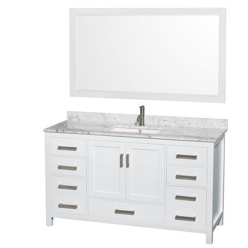 Special Offers - Wyndham Collection Sheffield 60 inch Single Bathroom Vanity in White White Carrera Marble Countertop Undermount Square Sink and 58 inch Mirror - In stock & Free Shipping. You can save more money! Check It (May 24 2016 at 10:59AM) >> http://bathvanitiesusa.net/wyndham-collection-sheffield-60-inch-single-bathroom-vanity-in-white-white-carrera-marble-countertop-undermount-square-sink-and-58-inch-mirror/