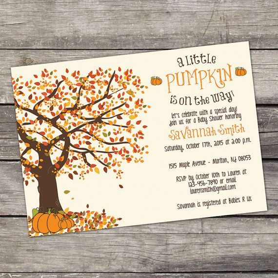 WE PRINT Fall Baby Shower Invitations - Little Pumpkin Baby Shower Invitation - A Little Pumpkin is On the Way - Printed Invitations 191