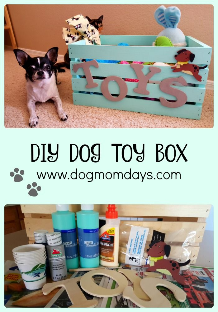 DIY dog toy box - make a super cute box for all of your dog's toys! Read the whole post to see where I got all of my materials, and find out where you can save money on them!  DIY - toy box - dog projects - dog crafts