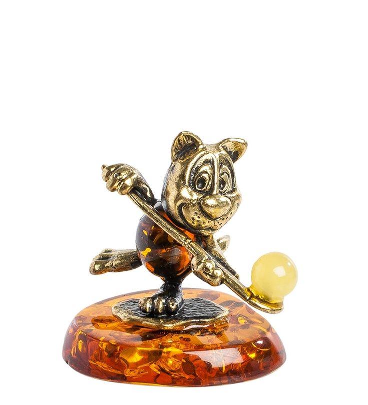 Фигурка «Барсик хоккей на траве» AM-1330      Страна производства: Россия;   Материал: латунь/янтарь;          #figures #brass #amber #фигурки #латунь #янтарь