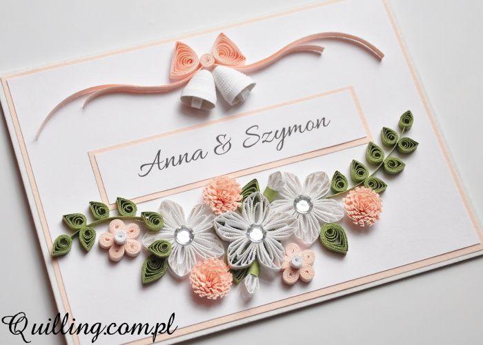 Ślubne Dzwony Quilling Greeting Card Handmade