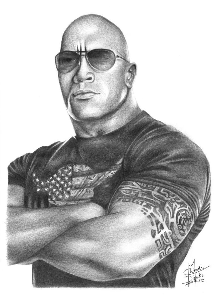Pencil Drawings of Famous People | The Rock Pencil Drawing by Chirantha on deviantART