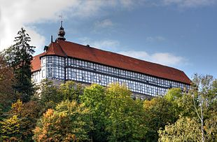 Herzberg Castle (German: Schloss Herzberg) is a German Schloss in Herzberg am Harz in the district of Osterode am Harz in the state of Lower Saxony. The present-day four-winged building has its origins in the 11th century as a medieval Burg.