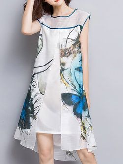 Multicolor Shift Printed Sleeveless Crew Neck Midi Dress