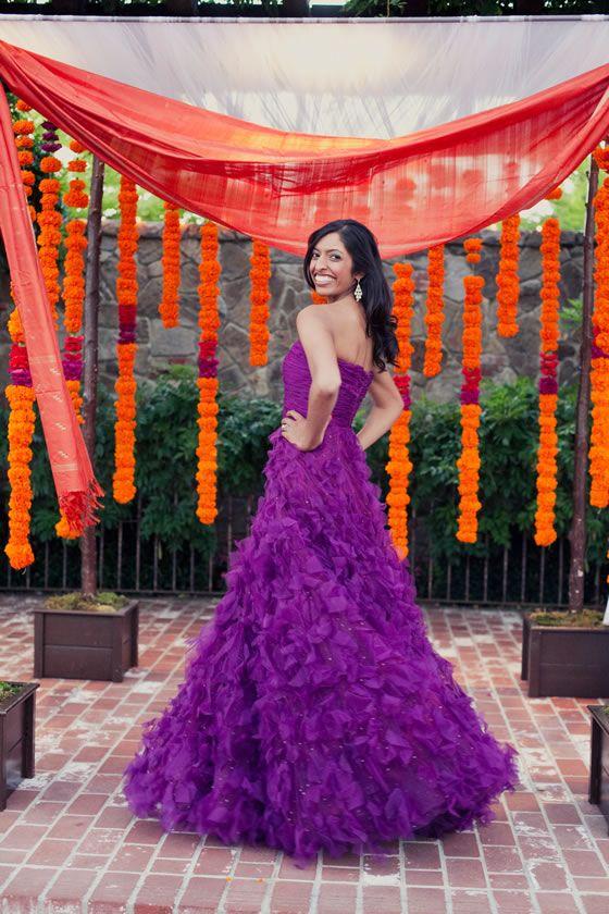 04154cd6e4a1 A fashion-forward bride changes into a ruffly purple reception dress ...