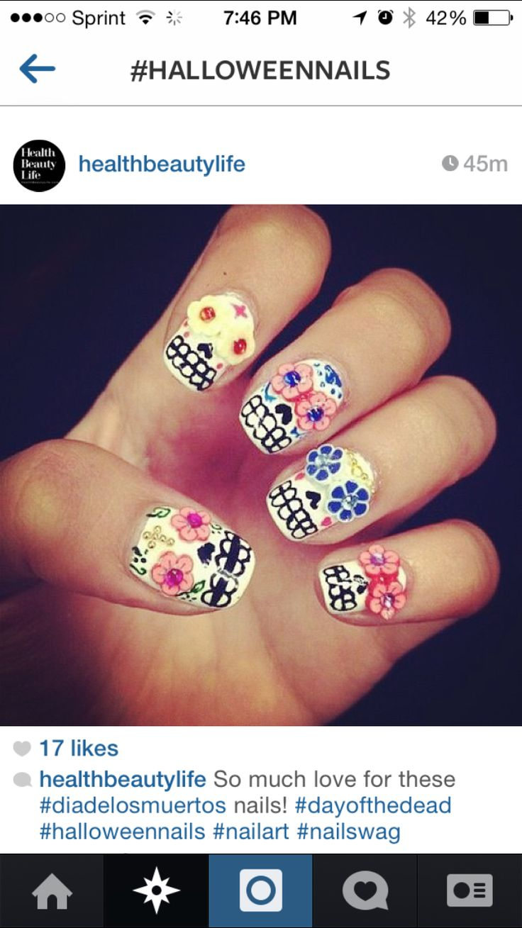 Nail Art Ideas » Day Of The Dead Nail Art - Pictures of Nail Art ...