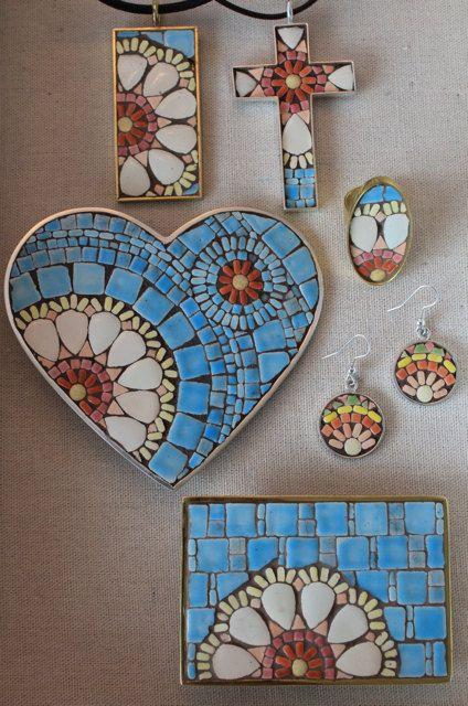 Mosaic Flower Cross PendantWhite Pink and by SallyMaysMosaicArt