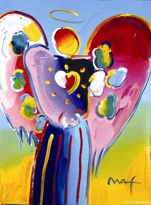 Peter Max angel. The story goes, he was in a hospital for a publicity gig. After passing the children's ward and seeing how happy the sick children were, even through their pain, he canceled his plans, sat in the children's ward and painted an angel.