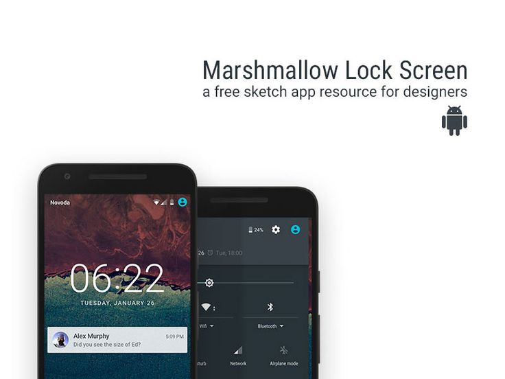 Marshmallow Lockscreen - Free sketch resource for download #sketchhint #sketch #resource #app #freebie #free