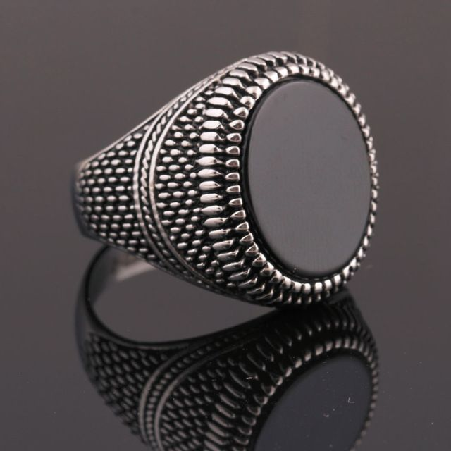 Black Agate Men Wedding Rings for Engagement Party Jewelry Stainless Steel Punk Rings for Men/Male Rings Jewelry