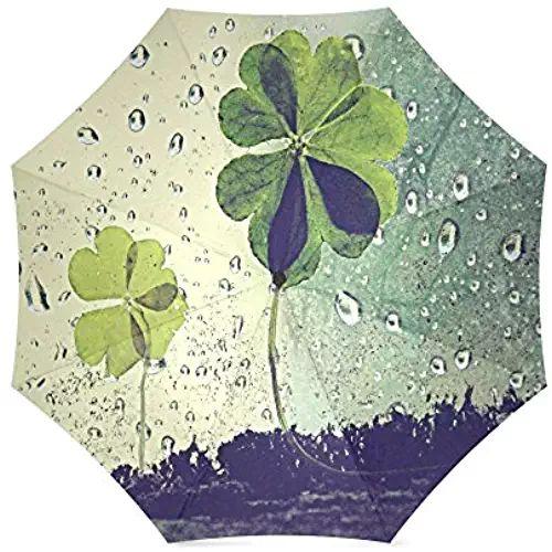 St.Patrick's Day Gift Irish Shamrock Pattern Compact Foldable Rainproof Windproof Travel Umbrella