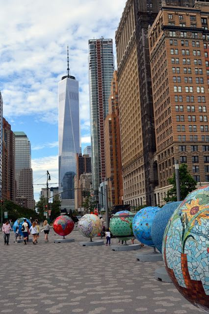 """Cool Globes"" art exhibit in Battery Park, Manhattan"