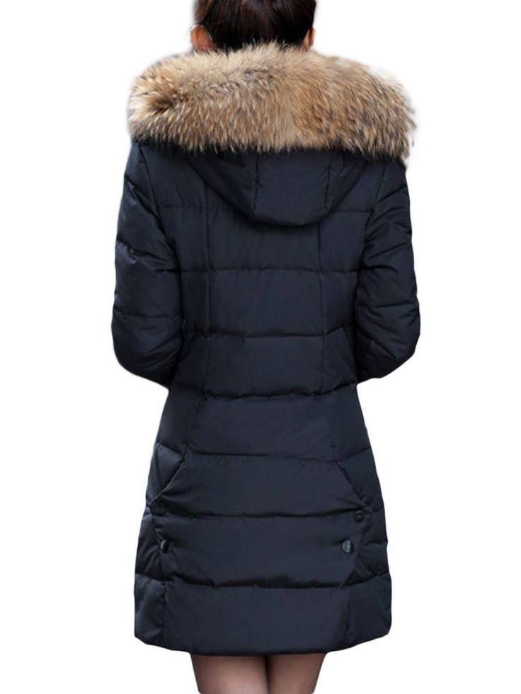 Slim Thick Faux Fur Hood Women Long Button Down Coat at Banggood