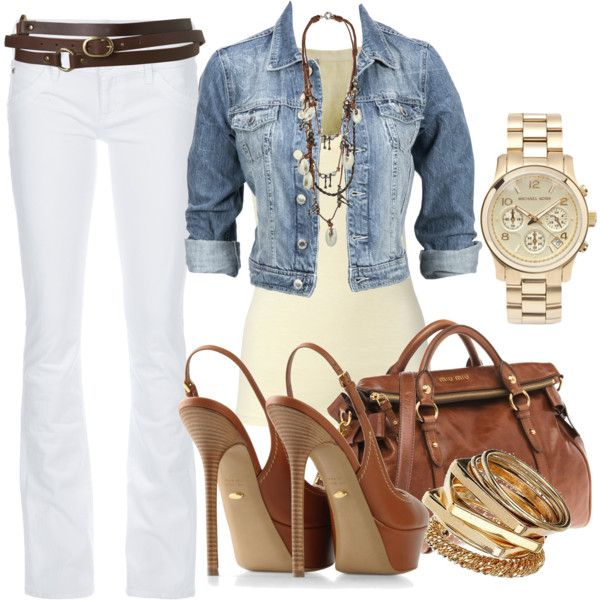 Spring outfit: Everyday Wear, Casual Style, Jeans Jackets, Fall Outfits, Denim Jackets, White Pants, White Jeans, Spring Outfits, Belts