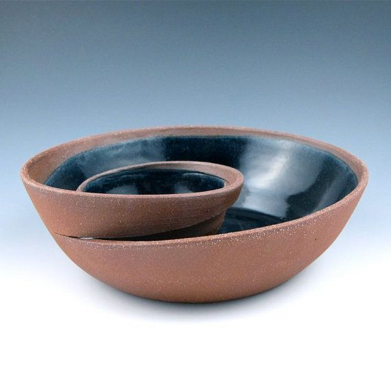 Small Red Clay Chip and Dip Serving Bowl with Black Glaze