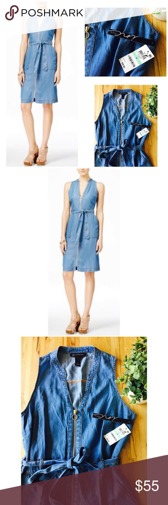 INC Denim Dress!✨ Beautiful INC, Denim, zip-up dress! Gold zipper with brown stitching detail. Double front pockets. Ties at waist! Super soft! Looks even better in person! INC International Concepts Dresses