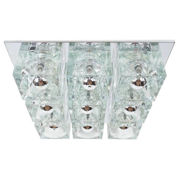 Mid-Century Modernist Glass Cube Flush Mount Chandelier by Sciolari in Chrome 1