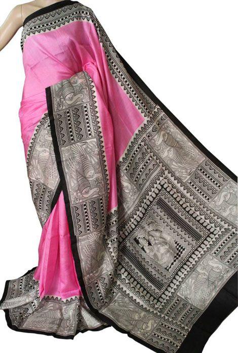 Pink Hand Block Printed Murshidabad Silk Saree 2